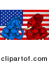 Vector Illustration of a Muscular Political Aggressive Democratic Donkey or Horse and Republican Elephant Battling over an American Flag by AtStockIllustration