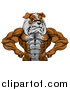 Vector Illustration of a Muscular Tough Bulldog Man Mascot Flexing, from the Waist up by AtStockIllustration