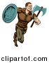 Vector Illustration of a Muscular Viking Warrior Sprinting with an Axe and Shield by AtStockIllustration