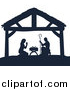 Vector Illustration of a Navy Blue Silhouetted Mary and Joseph Praying over Baby Jesus in a Manger by AtStockIllustration