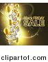 Vector Illustration of a Neon Black Friday Sale Text with 3d Party Balloons and Floating Gifts on Gold and Black by AtStockIllustration