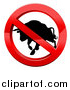 Vector Illustration of a No Bull Black Silhouetted Bovine Charging in a Shiny Red Prohibited Symbol by AtStockIllustration