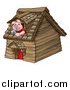 Vector Illustration of a Piggy from the Three Little Pigs Fairy Tale, Looking out the Window in His Wood House by AtStockIllustration