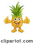 Vector Illustration of a Pineapple Mascot Character Giving Two Thumbs up by AtStockIllustration