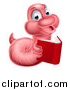 Vector Illustration of a Pink Earthworm Holding a Book by AtStockIllustration