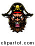 Vector Illustration of a Pirate Mascot Face with a Gold Tooth and Captain Hat by AtStockIllustration