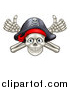 Vector Illustration of a Pirate Skull and Cross Bones Jolly Roger, with Thumbs up by AtStockIllustration