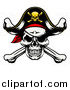 Vector Illustration of a Pirate Skull and Crossbones Wearing a Patch and Captain Hat by AtStockIllustration