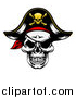 Vector Illustration of a Pirate Skull Wearing a Patch and Captain Hat by AtStockIllustration