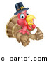 Vector Illustration of a Pleased Thanksgiving Turkey Bird Wearing a Pilgrim Hat and Giving a Thumb up by AtStockIllustration