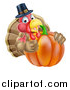 Vector Illustration of a Pleased Thanksgiving Turkey Bird Wearing a Pilgrim Hat and Giving a Thumb up over a Pumpkin 2 by AtStockIllustration