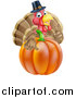 Vector Illustration of a Pleased Thanksgiving Turkey Bird Wearing a Pilgrim Hat and Giving a Thumb up over a Pumpkin by AtStockIllustration