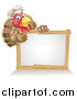 Vector Illustration of a Pleased Turkey Bird Chef Giving a Thumb up Above a Blank White Sign by AtStockIllustration