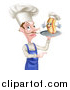 Vector Illustration of a Pointing Male Chef with a Curling Mustache, Holding a Hot Dog on a Platter by AtStockIllustration