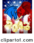 Vector Illustration of a Political Aggressive Democratic Donkey or Horse and Republican Elephant Butting Heads over a 2016 American Flag and Burst by AtStockIllustration