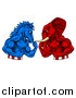 Vector Illustration of a Political Aggressive Democratic Donkey or Horse and Republican Elephant Fighting, Fists Balled by AtStockIllustration