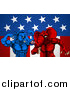 Vector Illustration of a Political Aggressive Democratic Donkey or Horse and Republican Elephant Fighting over Stars and Stripes by AtStockIllustration