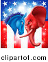 Vector Illustration of a Political Democratic Donkey and Republican Elephant Elephant Butting Heads over an American Flag by AtStockIllustration
