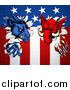 Vector Illustration of a Political Democratic Donkey and Republican Elephant Tearing Through an American Flag by AtStockIllustration