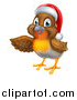 Vector Illustration of a Presenting Cheerful Christmas Robin in a Santa Hat by AtStockIllustration