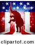 Vector Illustration of a Rearing Republican Elephant over an American Flag Themed Burst by AtStockIllustration