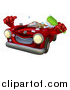 Vector Illustration of a Red Convertible Car Character Holding a Thumb up and a Scrub Brush by AtStockIllustration
