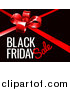 Vector Illustration of a Red Gift Bow and Black Friday Sale Text on Black by AtStockIllustration