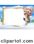 Vector Illustration of a Red Nosed Christmas Reindeer with a Blank Sign in a Winter Landscape by AtStockIllustration