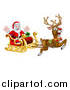 Vector Illustration of a Red Nosed Reindeer, Rudolph, Flying Santa in a Sleigh by AtStockIllustration