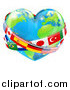 Vector Illustration of a Reflective Heart Earth Globe with National Flag Sashes by AtStockIllustration