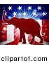 Vector Illustration of a Republican Elephant over an American Flag Themed Burst by AtStockIllustration