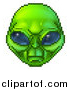 Vector Illustration of a Retro 8 Bit Pixel Art Video Game Styled Alien Face by AtStockIllustration