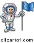 Vector Illustration of a Retro 8 Bit Pixel Art Video Game Styled Astronaut by AtStockIllustration