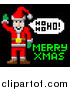 Vector Illustration of a Retro Pixelated Santa and Merry Xmas Text by AtStockIllustration