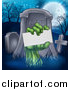 Vector Illustration of a Rising Zombie Hand Holding a Blank Card in a Cemetery by AtStockIllustration