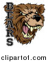 Vector Illustration of a Roaring Aggressive Bear Mascot Head with Text by AtStockIllustration