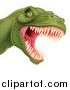 Vector Illustration of a Roaring Angry Green Tyrannosaurus Rex Dino Head by AtStockIllustration
