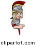 Vector Illustration of a Roman Soldier Pointing Around a Sign by AtStockIllustration