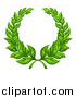 Vector Illustration of a Round Green Laurel Wreath of Two Branches by AtStockIllustration