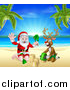 Vector Illustration of a Rudolph Red Nosed Reindeer and Santa Claus Making a Sand Castle on a Tropical Beach by AtStockIllustration