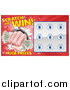 Vector Illustration of a Scratch and Win Lottery Ticket Design with a Fisted Hand Holding Cash Money by AtStockIllustration