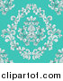 Vector Illustration of a Seamless Victorian Retro Floral Design Background on Turquoise by AtStockIllustration
