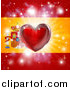 Vector Illustration of a Shiny Red Heart and Fireworks over a Spanish Flag by AtStockIllustration