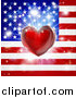 Vector Illustration of a Shiny Red Heart and Fireworks over an American Flag by AtStockIllustration