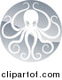 Vector Illustration of a Shiny Silver Round Octopus Logo by AtStockIllustration