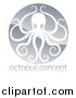 Vector Illustration of a Shiny Silver Round Octopus Logo over Sample Text by AtStockIllustration