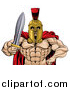 Vector Illustration of a Shirtless Muscular Gladiator Gladiator Man in a Helmet, Holding out a Sword, from the Waist up by AtStockIllustration