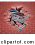 Vector Illustration of a Shopping Cart Crashing Through a 3d Brick Wall by AtStockIllustration