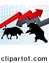 Vector Illustration of a Silhouetted Bear Vs Bull Stock Market Design with Arrows over a Graph by AtStockIllustration
