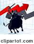 Vector Illustration of a Silhouetted Business Man Holding a Sword and Riding a Stock Market Bull Against a Graph with Arrows by AtStockIllustration